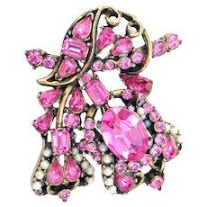 34271a - Signed Hollycraft 1953 Light Pink Stones & Half-Pearls Brooch/Pin