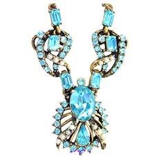 34296a - Signed Hollycraft 1953 Aquamarine Color Stones & Creamy Pearls Necklace