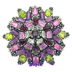 34371a - Signed 1954 Hollycraft Purple Green Rose Red Yellow Huge Star Brooch