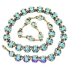 34386a - Signed Hollycraft 1953 Aquamarine Color Stones & Creamy Pearls Necklace