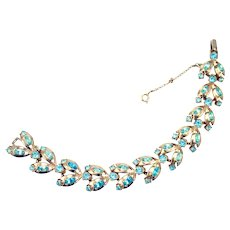 34416a - Signed Hollycraft 1955 Aqua Color Oval & Round Rhinestones Bracelet