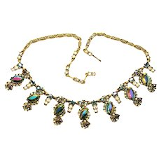 34443a - Signed Hollycraft 1956 Peacock Black AB & Clear AB Rhinestones Necklace