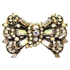 34477a - Signed Vintage Hollycraft 1955 Clear Crystal AB Bow-Wings Brooch/Pin