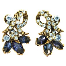 34549a - Signed Hollycraft 1952 Light Sapphire & Montana Stones Clip Earrings