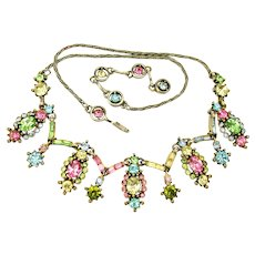 34559a - Signed HOLLYCRAFT 1955 Pastel Multi Color 9-Dangle Necklace
