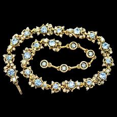 34775a - Vintage Hollycraft 1957 Light Sapphire & Crystal Clear Stones Dog Collar
