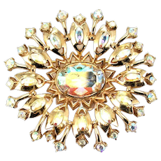 34787a - Vintage Signed Hollycraft 1955 Crystal Clear AB Oval Shaped Brooch/Pin