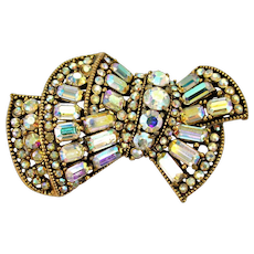 34817a - Vintage Hollycraft 1955 Clear AB Color Stones Bow Shaped Brooch/Pin