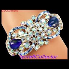 34830a - Signed Hollycraft 1959 Light Blue AB & Blue Opal Double Hinged Bracelet