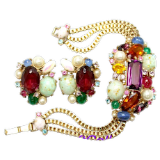 34841a - HOLLYCRAFT 1958 Fancy Stones Colorful Gaudy Huge Bracelet & Earrings