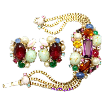 34841a - HOLLYCRAFT 1958 Fancy Stones Colorful Gaudy Huge Bracelet & Earrings