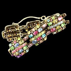 34849a - Signed Vintage Hollycraft 1955 Multi Color Pastel - Chunky Bracelet