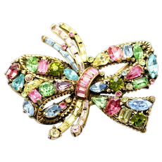 34860a - Signed Hollycraft 1955 Multi Color Pastel BOW Shaped Brooch/Pin