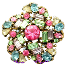 34866a - Signed Hollycraft 1953 Multi Color Pastel Pin Wheel Brooch/Pin