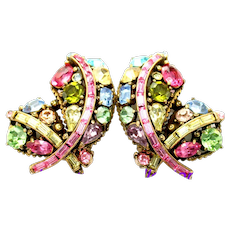 34872a - Signed Hollycraft 1955 Pastel Rhinestones Huge Feather Earrings