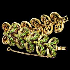 34880a - Vintage Hollycraft 1955 Olivine Chatons & Jonquil Baguettes Big Bracelet