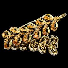 34885a - Vintage Hollycraft 1955 Topaz Chatons & Jonquil Baguettes Big Bracelet