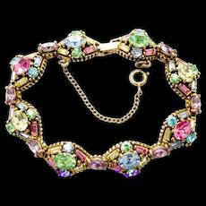34892a - Signed HOLLYCRAFT 1955 Multi Color Pastel Stones 8-link Bracelet