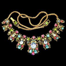 34913a - Vintage Signed HOLLYCRAFT 1950 Multi Color Pastel Rhinestones Necklace