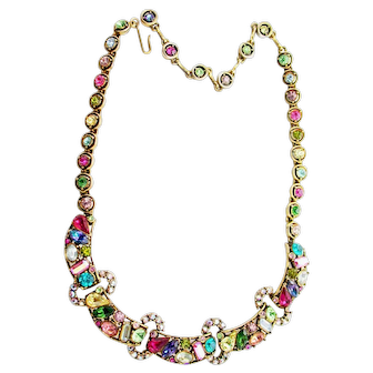 35036a - Rare Signed Vintage HOLLYCRAFT Multi Color Rainbow Necklace