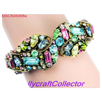35068a - Vintage Signed HOLLYCRAFT 1957 Multi Pastel Clamper Bangle Bracelet