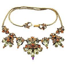 35113a - Vintage Signed Hollycraft 1952 Topaz Jonquil Color Rhinestone Necklace