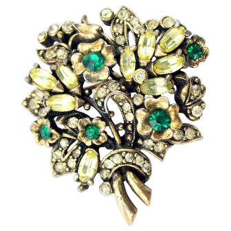 35219a- Signed Hollycraft 1950 Green Emerald Flower Stones & Clear Oval Brooch