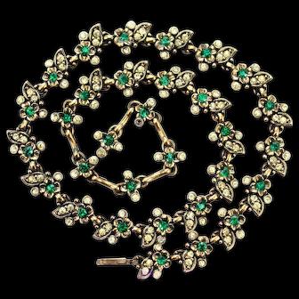 35223a - Signed Hollycraft 1950 Emerald Flower & Oval Jonquil Stones Choker