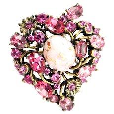 35314a - Hollycraft 1951 Pink Rhinestones Opal Cabochon Heart Shaped Brooch