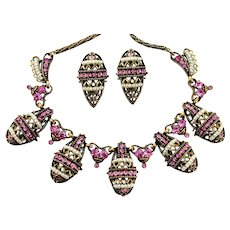 35341a -Signed HOLLYCRAFT 1954 Pink Stones & Pearl Seed Beads Necklace & Earrings