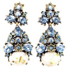 35405a - Hollycraft 1951 Light Sapphire Stones & Opal Cabochon Dangle Earrings