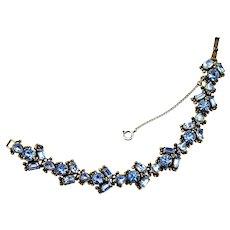 35504a - Signed Hollycraft 1954 Light Sapphire Color Rhinestones Bracelet