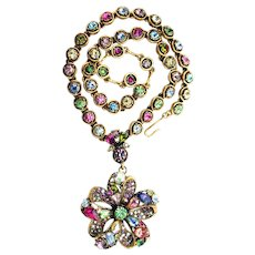 35638a - Signed HOLLYCRAFT Multi Color Rainbow Pinwheel Dangle Necklace