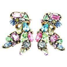 35696a - Signed Hollycraft 1953 Pastel Rhinestones Huge Clips Back Earrings