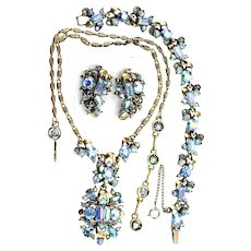 35820a - Hollycraft 1957 Light Sapphire AB Necklace Bracelet & Earrings Set