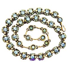 36066a - Signed HOLLYCRAFT 1953 Light Sapphire Colored & Pearls Choker/Collar