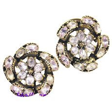 36074a - Signed HOLLYCRAFT 1953 Lavender Oval Shaped Stones Screw Back Earrings