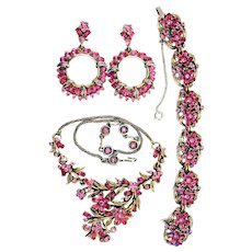 36250a - Vintage Hollycraft 1953 Pink Stones Necklace/Bracelet/Earrings Set