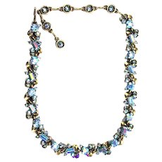 36269a - Signed Vintage Hollycraft 1957 Rare Light Sapphire AB Collar/Necklace