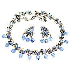 36279a - Hollycraft 1957 Rare Light Sapphire AB 11 Dangle Balls Necklace & Earrings Set
