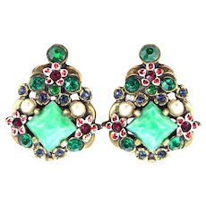 36348a - RARE HOLLYCRAFT Flower Enamel With Red Green Blue Stones & Pearls Earrings