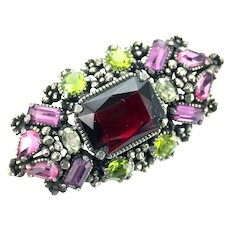 36386a - Hollycraft 1954 Purple Green Rose Red Yellow Rectangular Shaped Brooch