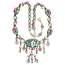 36459a - Signed HOLLYCRAFT 1955 Pastel Multi Dangles Necklace - EXTRAordinaire
