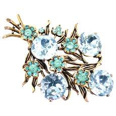 36463a - Signed Hollycraft 1954 Aqua/Teal Color Stones Flower Huge Brooch