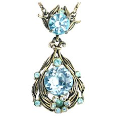 36470a - Hollycraft 1954 Aqua/Teal Color Stone Flower Small Pendant/Necklace