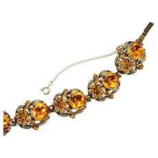 36504a - Signed Hollycraft 1954 Yellow Topaz Color Flower 7 Sections Bracelet
