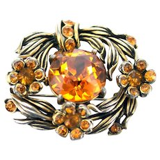 36511a - Signed Hollycraft 1954 Yellow Topaz Color Stones Flower Small Brooch