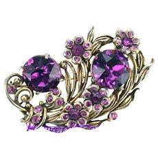 36529a - Signed Hollycraft 1954 Purple Amethyst Color Stones Flower Brooch