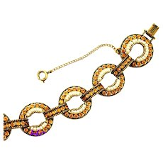 36570a - HOLLYCRAFT 1954 Seven Circles Topaz Stones & Pearl Seed Bracelet