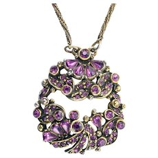 36669a - Vintage Hollycraft 1954 Purple Tear Drop & Chaton Rhinestones Pendant